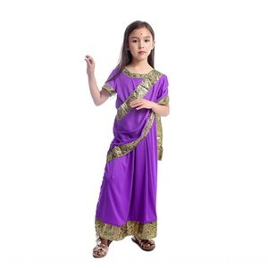 Charming Indian girls dress up clothing children Bollywood princess masquerade ball stage performance game play costume