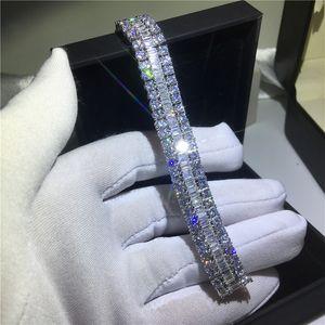 Handmade Lovers Tennis Armband 5A Zirkonia weißes Gold füllte Partei-Verpflichtungs-Armbänder für Frauen Hochzeit Mithelfer