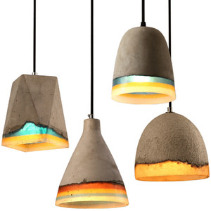 Loft Industrial Concret Cement Pendant Light Fixture Indoor Led Stone Hanging Lamp Kitchen Dining Room Droplight Resin Home Deco
