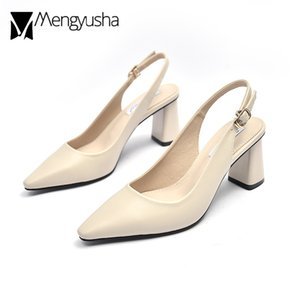 Sapato de bico fino Back-Strap Sandals Mulheres Chunky Heels Shoes Escritório Ladies trabalho vestido Salto Alto Slingback Capa Toe Mary Jeans