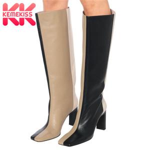 KemeKiss Frauen Stiefel Fashion Square Zehe-Absatz-Winter-Schuh-Frauen-Mischfarbe Lange Stiefel Sexy Party Schuhe Größe 35-43