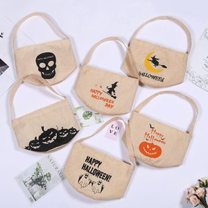 Halloween Candy Bucket Kids Led Night Canvas Candy Gift Bags Halloween Pumpkin Ghost Skull Printed Party Candy Storage Bags DHB1411