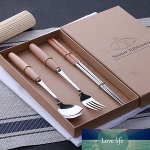50 sets of logs handle stainless steel steak cutlery chopsticks four sets of gift boxes packaging gifts business gifts