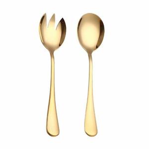 Kaşık Seti Renkli Benzersiz kaşık Serving Altın Salata Kaşık Çatal 2PCS Salata Kaşık Paslanmaz Çelik Çatal Seti