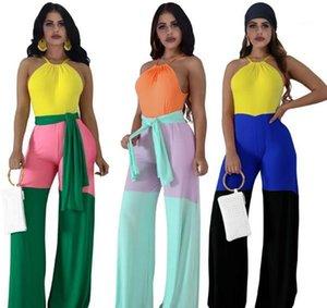 Designer Jumpsuits femmes mode sexy sans manches Halter desserrées combis avec Jupettes contraste couleur Femmes