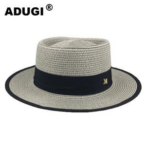 Üst M Standart Plaj Straw Boyunca ADUGI Flat Top Hasır Şapka Erkekler ve Kadınlar Yaz Açık Güneşlik Güneş Şapka Düz