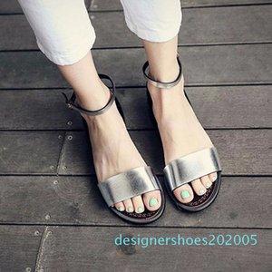 QWEDF argent Sandales plates Sandales solides Femmes souple plage Chaussures d'été Chaussons Argent Sandalias Mujer Femme Sandale A8-170 D05