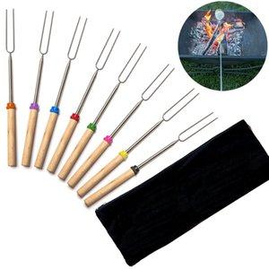 8pcs Set Roasting Sticks For Outdoor BBQ Extendable U-shaped Roasting Sticks Long For Kids Adult Stainless Steel Fork HH9-3281
