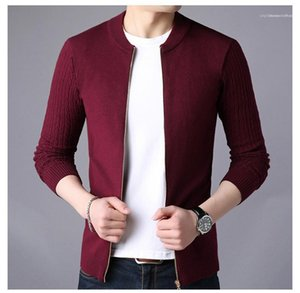 Mens Sweaters Casual Long Sleeve Males Clothes Mens Designer Pure Color Sweaters Fashion Zipper knit Cardigan