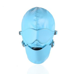 Engrenagem azul Bondage Máscara cabeça capa com Mouth Gag destacável Eye Mask Adult Sex Toys Gn311800040