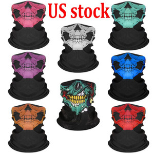 Azioni USA! 50pcs 24H Ship Bicycle Ski Skull Mezza faccia maschere fantasma Scarf'annalzata Ghost Forestscarf Warmer Snowboard Cap Cycling Halloween Cosplay FY6096
