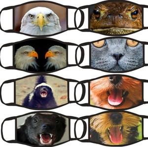 Stampa 3D del fumetto degli animali Leopard Dog Cat Bocca Maschera riutilizzabile lavabile Bocca Maschera Hanging Orecchio divertente di personalità della maschera di 8 stili