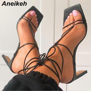 Aneikeh verano mujeres zapatos de las sandalias de la PU Gladiador concepción estrecha banda delgada talones con cordones del tobillo Correa Square partido del tamaño del dedo del pie 35-42