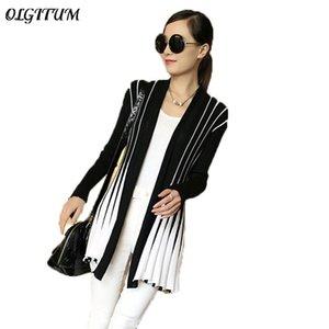 OLGITUM Spring Women Cardigan 2020 Fashion Stripes Print Long Sleeve sweater Slim Shawl Knitting Sweater Cardigan For Female T200821