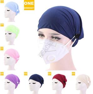 Botão Botão Headband Máscara Headband Anti-curso Headband Headband Nurse HeadWrap Bandana Turbante Headwear Cor Sólida Cor Sólida D82703