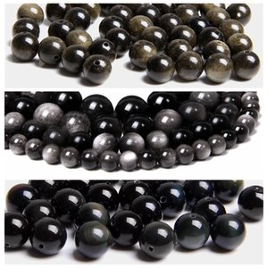Natural silver color black gold obsidian stone beads for jewelry making Accessories loose spacer gem stone beads men women gifts