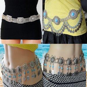 Турецкий Цыганский Metal Flower Coin кисточкой талии цепи танец живота пояса Charm тела цепи ювелирные изделия для женщин Boho
