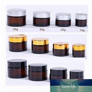 10 20 30 50ml Empty Amber Glass Jars Glass Containers Cream Glass Bottle White Inner Liners and Gold silver black Lid