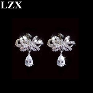 LZX New Trendy Earring White Gold Color Top Quality Zirconia Cute Bow Knot Shape Stud Earrings For Women Fashion Party Jewelry