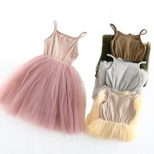 2020 Нового ребёнки Sling шарик платье Knit хлопок Mesh Vest балет Тута лето платье девушка партия Vestidos 2-9Years
