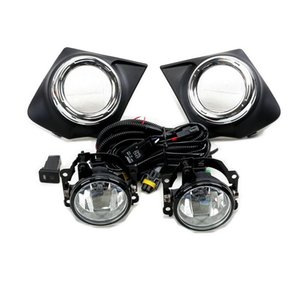 July King Car Fog Lamp Assembly Kit With Cover Case for Mitsubishi L200 Triton 2015-2017, Halogen Fog Lamp Blub + Cover + Harness + Switch