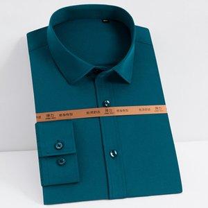Männer Wrinkle Free Stretch Basic Kleid Shirts Taschen Los Design bequemer Breathable Langarm Pflegeleicht Tops Shirt