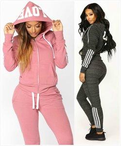 Herbst Womens Designer Mode Tracksuits Marke Sportwear Yoga-Buchstabe gedrucktes Zweiteiler Pullover Beiläufige 2Pcs mit Kapuze Winter Kleidung Anzüge