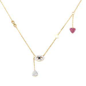 Eye Love Heart Zircon Pendant Necklace Titanium Stainless steel Gold Chain Necklace Inlaid Zircon Fashion Trendy Women Jewelry