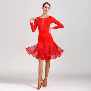 2020 Mesh Latin Dance Costume Latina Competition Wear Argentine Tango Dress Designer Dresses Women See Through Skirts JL1116