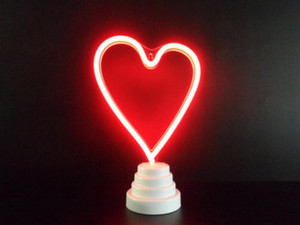 Heart neon sign LED Lights Handmade Visual art Bedroom Bar Party Christmas Removable Wall Desktop Dual purpose