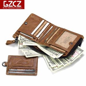 키 체인 짧은 남성 주최자 GZCZ 최저 정품 가죽 남성 지갑 이동식 카드 ID 홀더 남성 동전 가방 2020 walet
