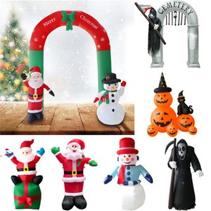 Decoración juguete inflable al aire libre de Santa Claus muñeco de nieve inflable yarda del jardín de la arcada de Halloween Adornos de navidad de Navidad Año Nuevo GWE1872
