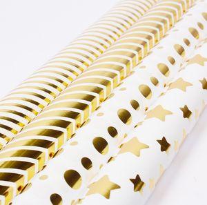 Sanat ambalaj kağıdı Roll- Folyo Altın Yıldız Parlak Nokta Düğün, Doğum günü, Duş, Tebrikler 50 * 70 cm hediye kağıt için kaydırma Kağıt çizgili