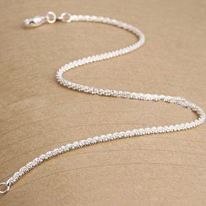 For New Bracelet Women Shining Plated Anklets Gifts Jewelry Sterling 925 Silver Women Girls Foot Chain queen66 FjKwM
