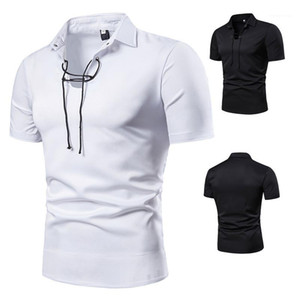 Manga curta Polo Casual Collar turn-down Polos Mens Vestuário Mens Designer cordão Collar Polo Moda Cor Natural