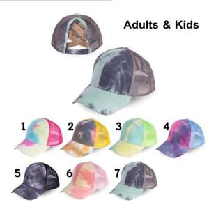 Tie Dye Beyzbol Şapkası Criss çapraz at kuyruğu Mesh Geri Trucker Hat Yetişkin Çocuk at kuyruğu Delik Dağınık Bun Nefes Mesh Geri Şapkalar OOA8503
