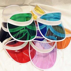 Visera transparente Sombrero creativo de plástico transparente superior vacío del casquillo al aire libre Viajes Playa Protector solar Sombrero de sol Hogar y Jardín DHE639