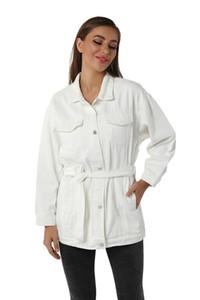 Женская Сыпучие Длинные джинсовой куртки осень зима белый нагрудные шеи Пояса пальто женщина высокой моды Кнопка Карманный Outerwears