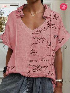 Clothing Summer Female Designer Tshirts Letter Printed Panelled Short Sleeve V Neck Tops Plus Size Womens