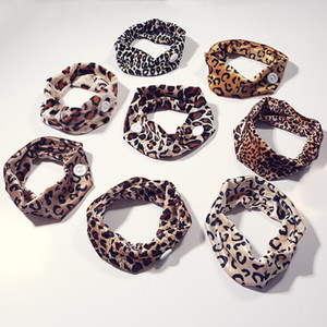 Botão Leopard Impresso Faixa de Cabelo Elastic Envoltório principal Hoop Hairband Mulheres Moda Baixada pano Hairwashing Mulheres Lady 2 45py C2