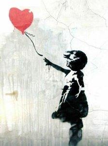 빨간 풍선 홈 장식 오일 캔버스 벽 예술 캔버스 사진을 거실 200,901에 그림 BANKSY 예술 작품 소녀