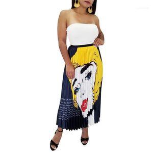 Printed Pleated Ladies Long Skirt Ladies Elastic Waist Sexy Female Skirts Designer Women Summer Dresses Fashion Irregular