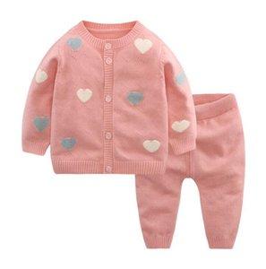 Ins 2 Pezzi imposta per bambini set di maglieria abbigliamento ragazza manica lunga rosa di disegno del cuore cardigan + Pant bambina insiemi dei vestiti Primavera Autunno