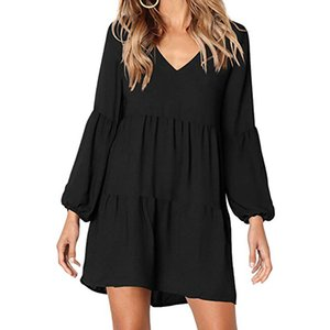 Femmes Solid Color Wild V Collier Sexy Tempéramment Slim Taille Slim Shirts Robe décontractée