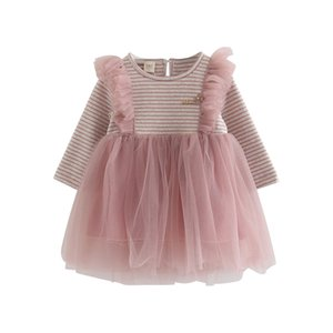 Kids Striped lace skirt Children spring and autumn flowered skirt baby long-sleeve skirt New style No pilling