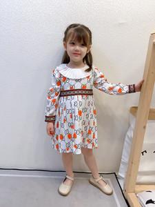 Diseñador niñas fresa Carta Vestido estampado 2020 colmena de los niños de la solapa de manga larga de los cabritos del vestido carta de banda de la cinta A4188 vestido plisado