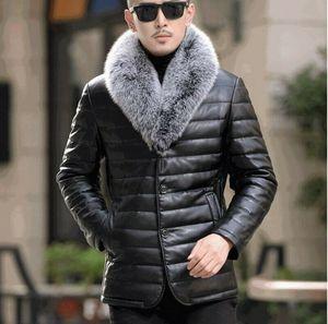 Мужские кожаные стеганые куртки фугу меха лисы воротник толстый зима теплая одежда XY-003 CX200817