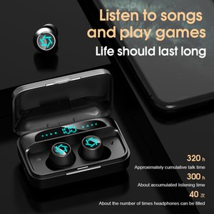 S15 Portable Wireless Bluetooth Earphones LED Digital Display Fingerprint Touch 9D Shocking Sound Sports Headset With Charging Box Fit For Phones, Computers 1 Pair