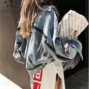 2019 Women Bat sleeve tassel short loose burr denim jacket Female Fashion new boyfrieds outwear Autumn Streetwear jean coat