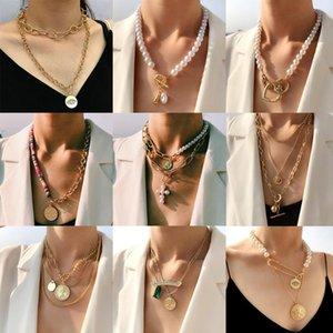 FlatFoosie Multilayer Gold Catena Gold Coin Collana Collana Collana Dichiarazione Trendy Imitazione Perle Choker Collana per Gioielli da donna